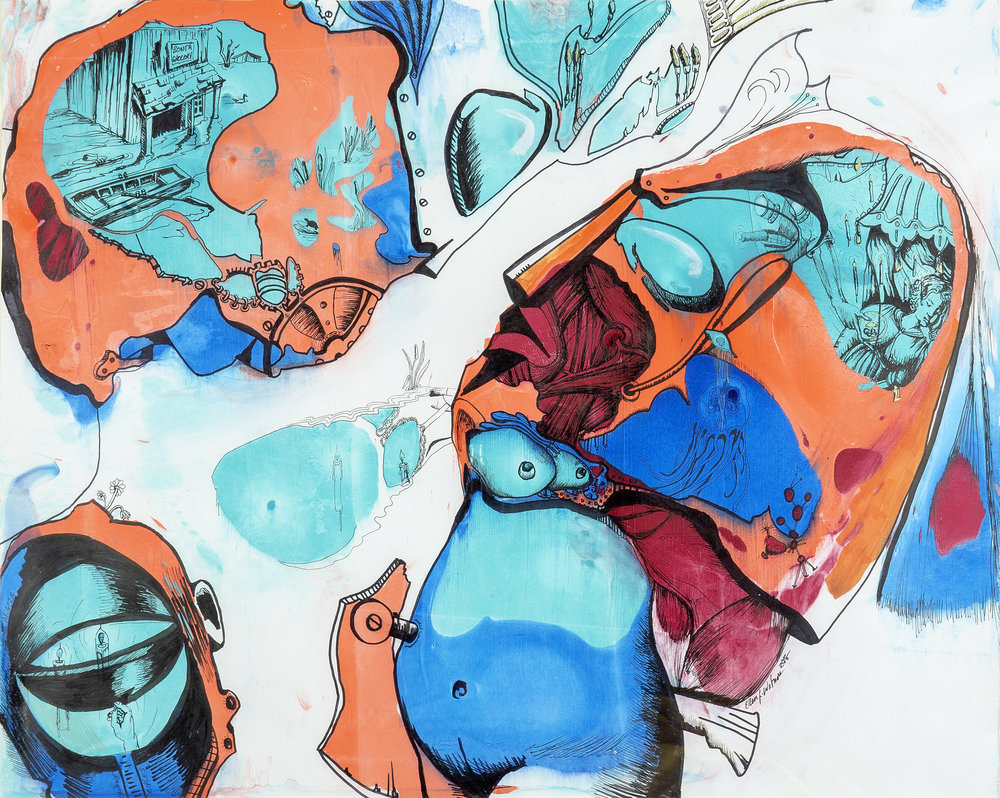 "Ellen Wetmore,  #137 , 2018, acrylic and pigment ink on paper, 24"" x 19"", Courtesy of the artist"