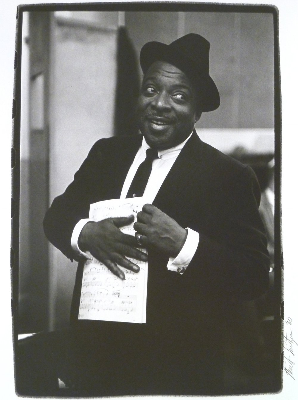 "Herb Snitzer (American, b. 1932),  Count Basie, New York City recording studio, 1960 , silver gelatin print, 19"" x 14 ½"", Gift of Jeanne and Richard S. Press"