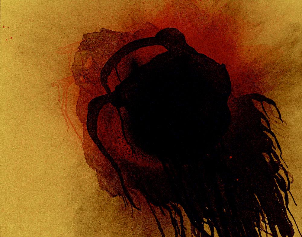 "Otto Piene,  Plusquamperfect  [Past Perfect Participle], 2003, oil and fire on canvas, 31 ½"" x 39 2/5"", Private Collection, Photograph © Ante Glibota"