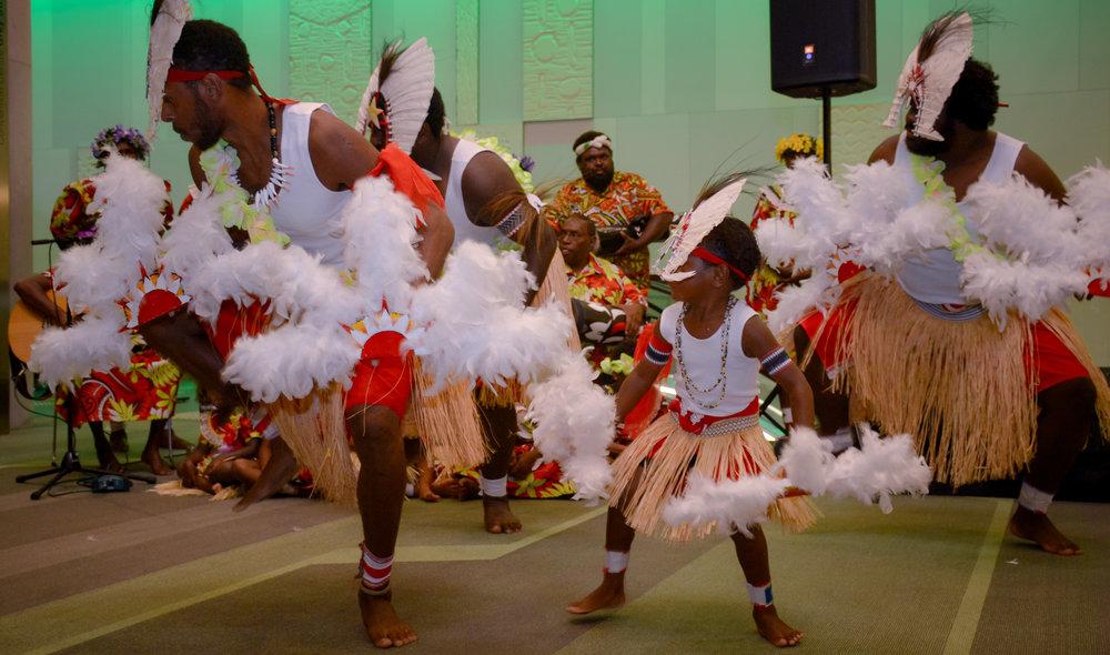 Dancers from Torres Strait Islander cultural group Malu Kiai Mura Buai