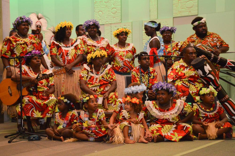 Musicians from Torres Strait Islander cultural group Malu Kiai Mura Buai