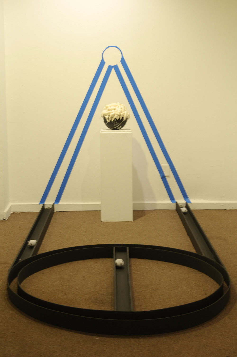 "Enthroned Basketball  tape, foam, wood, mechanical rats, wooden pedestal, spray paint  86""x6""x60""  2012"