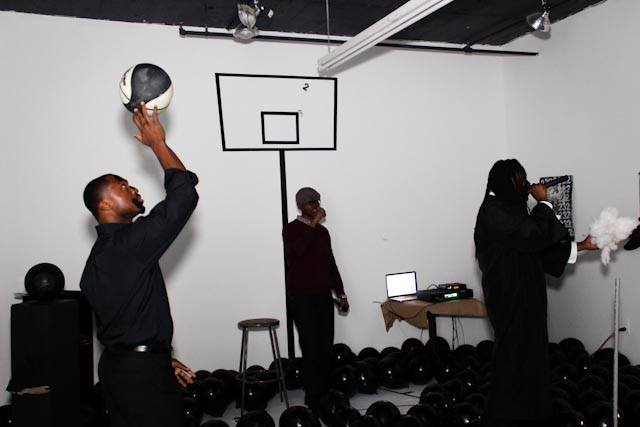 Final Ascension II (performance)  black vinyl, black latex balloons   2014