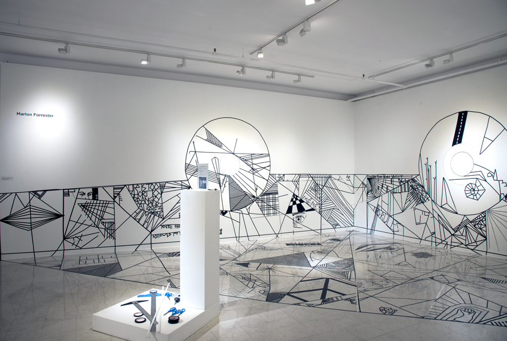 Installation image of Center Court: Exploring Sacred Geometry through Line  pedestal, black tape on wall and floor  25'x17'x35'  2016