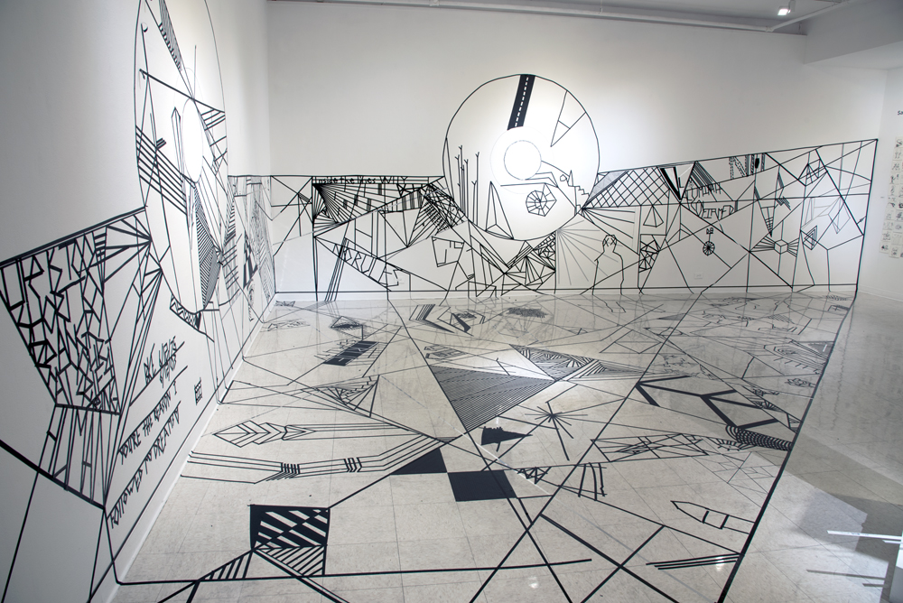 Installation image of Center Court: Exploring Sacred Geometry through Line  pedestal, tape on wall and floor  25'x17'x35'  2016