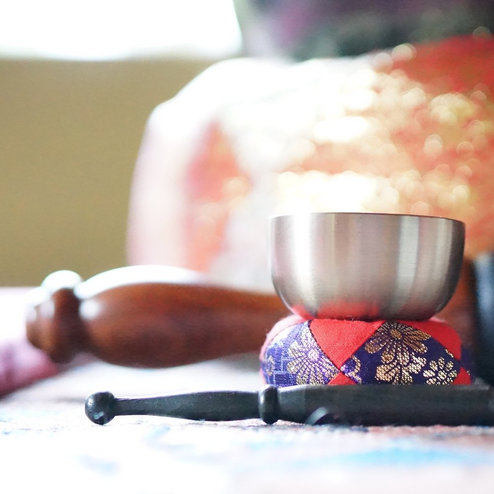 "We use these Tibetan singing bowls to ""invite the bell"" of mindfulness."
