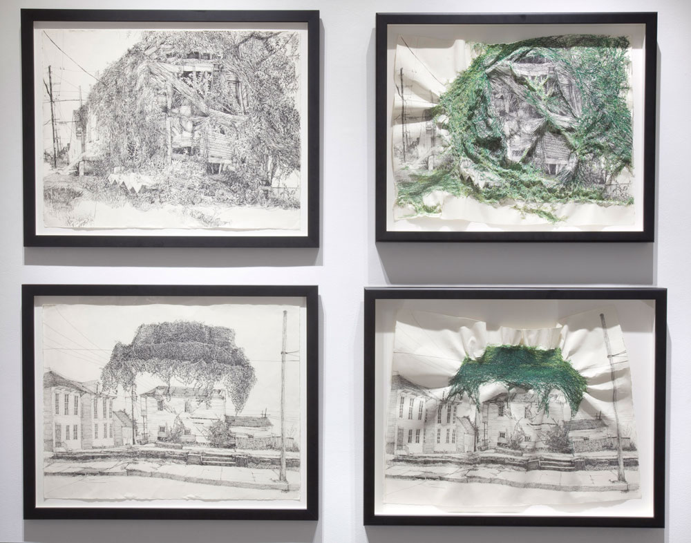 Installation View of Ghost House and Tree House Diptych