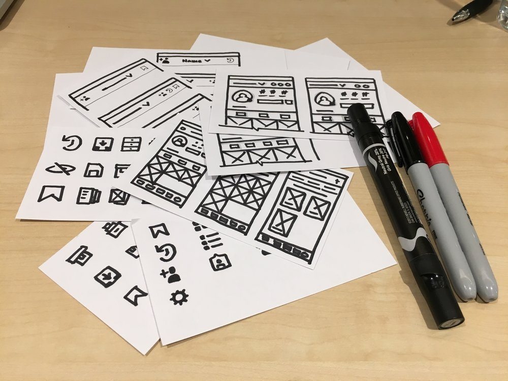 UI sketches and icon exploration