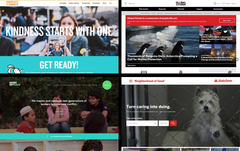 Landing pages of similar websites