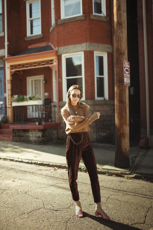 Brown Velvet Cigarette Pants