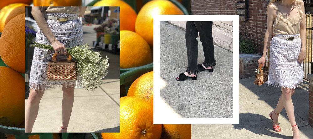 Shop fringe:  White skirt ,  black fringe jeans
