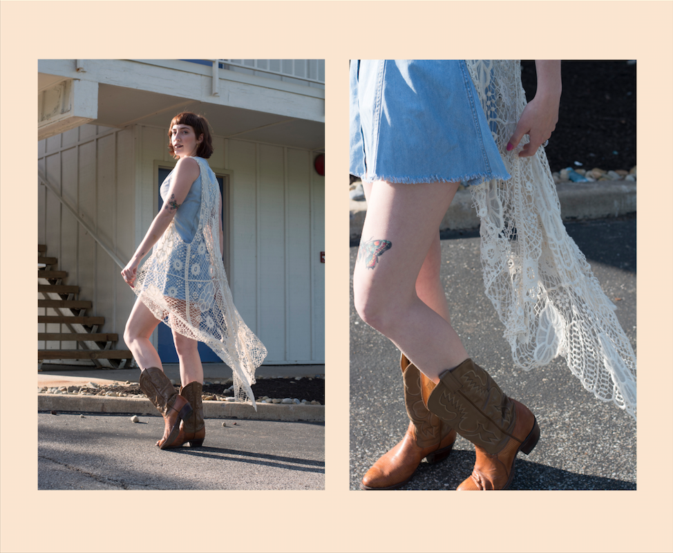 Oh hey, Crochet - Making a come-back in so many ways.Bags, bras, and even pants are looking amazing as knits.We are loving' on grandma's handiwork. Shop the look: crochet vest, denim dress.