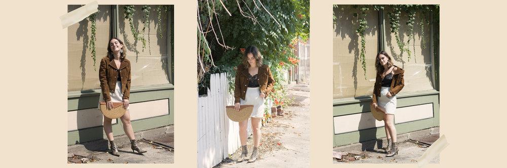 Shop the lewk:  jacket ,  tank ,  skirt ,  clutch ,  boots , earrings