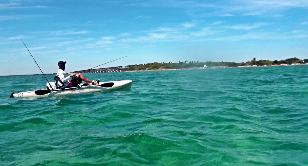 Kayak fishing off the beach at Bahia Honda State Park