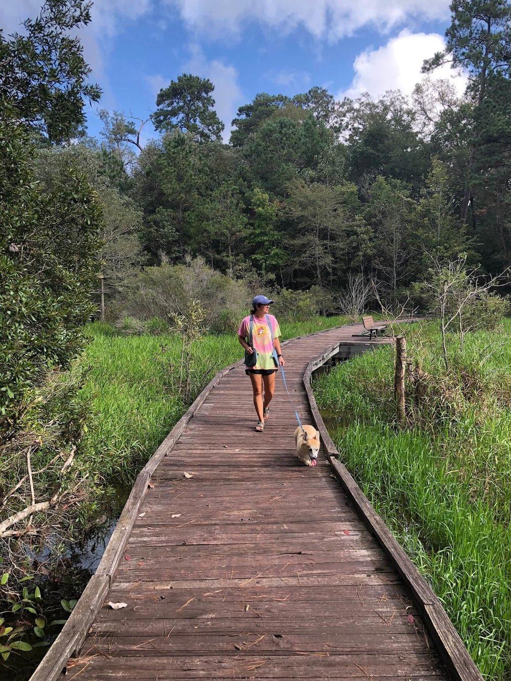 - -lots of walks at Lake Livingston State Park
