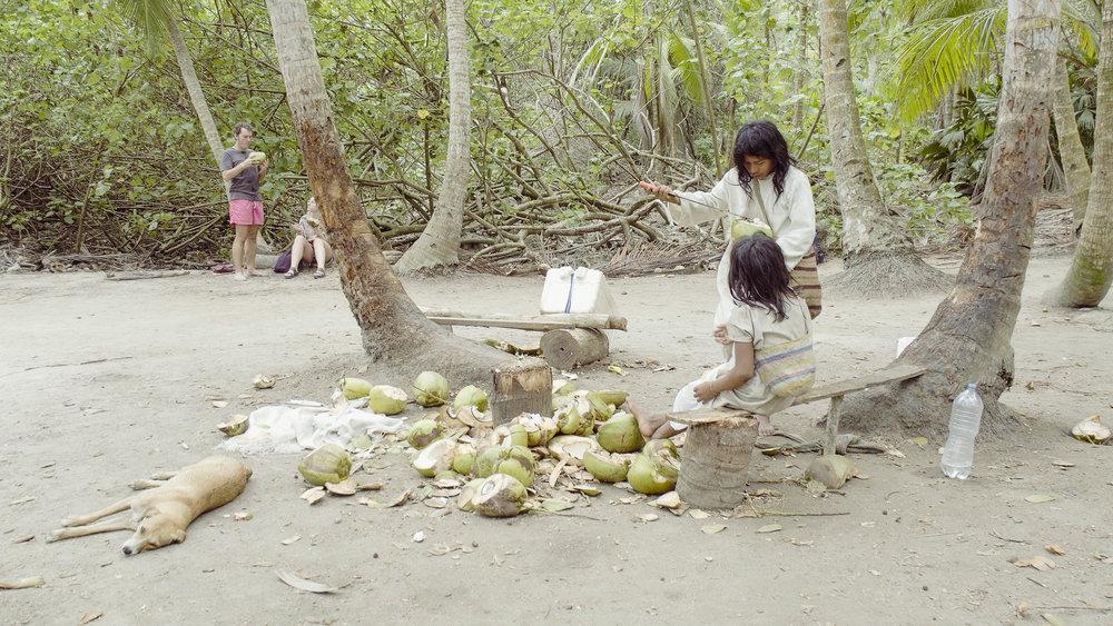Tayrona kids cutting coconuts