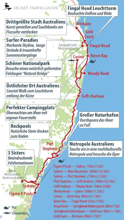 Australien Karte von Sydney nach Brisbane