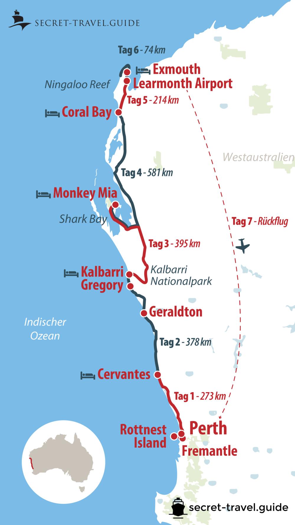 Australien Westküste Karte