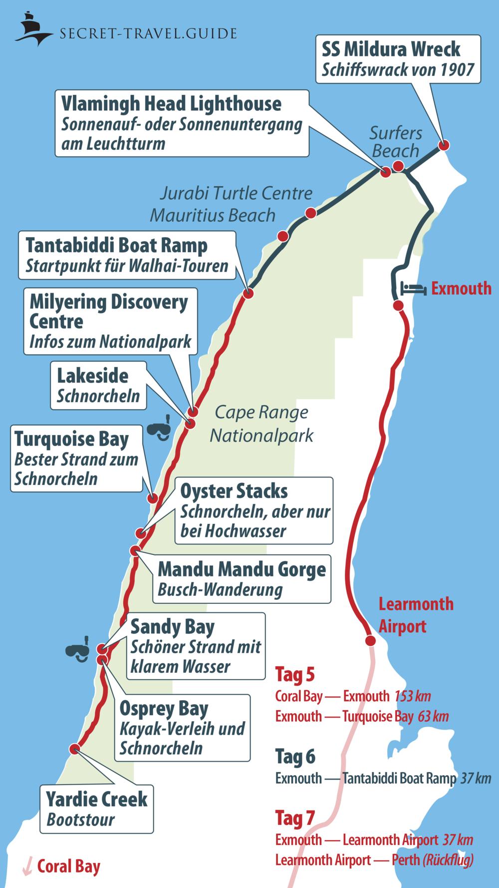 Karte Exmouth