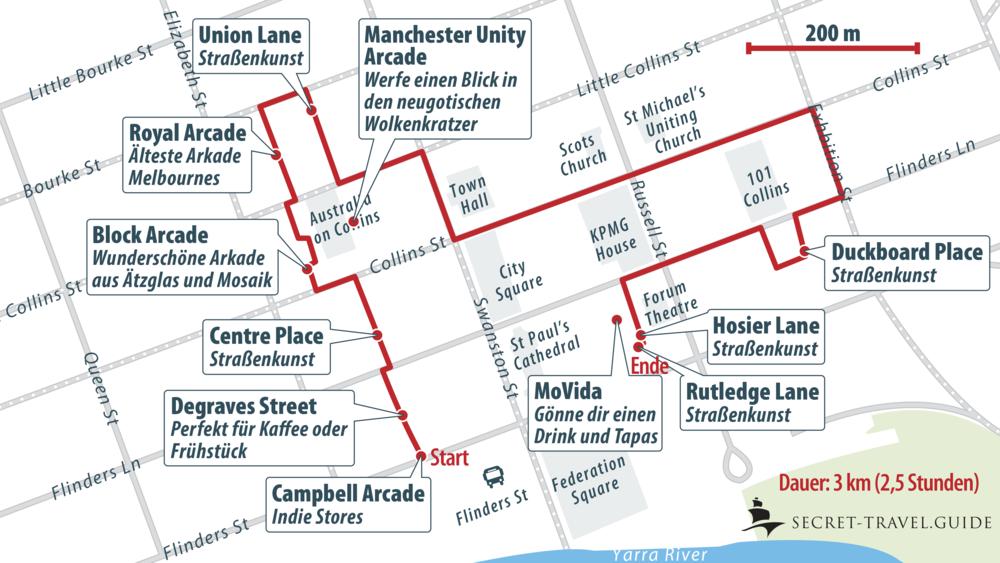 Karte Stadttour durch Melbourne