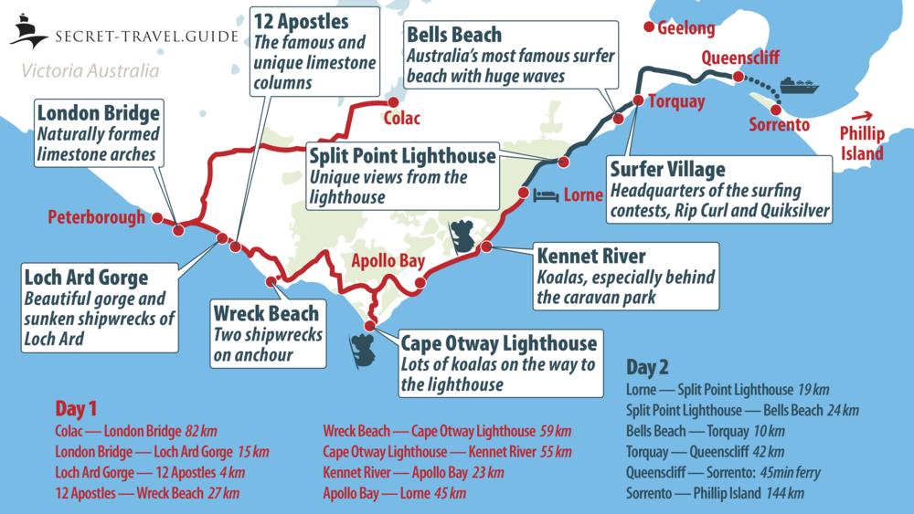 Great Ocean Road tour map
