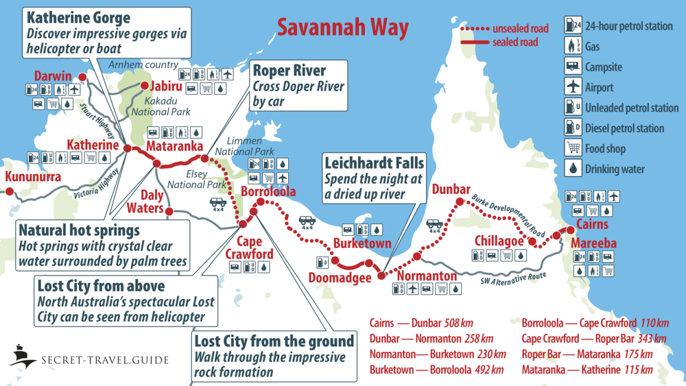 Savannah Way map from Cairns to Katherine