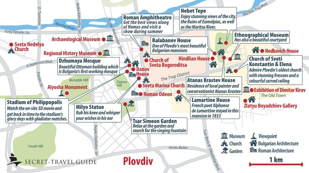 Tourist map of Plovdiv