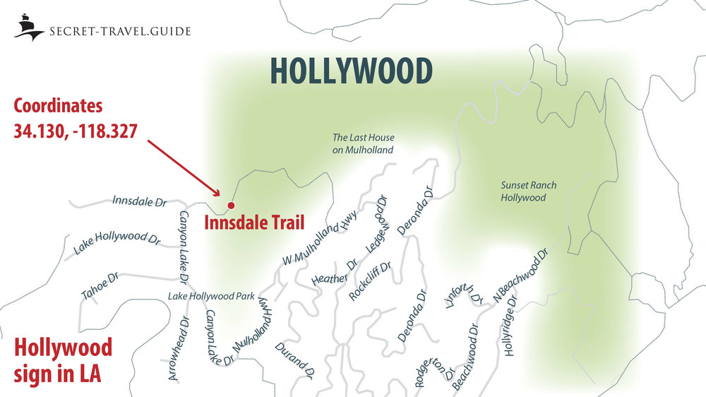 Hollywood sign map