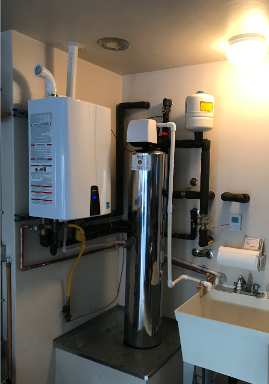 AFTER with navien tankless water heater and  halo water filtration  system