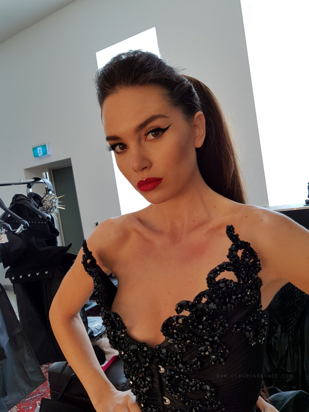 Jemma looking fierce in our Swarovski encrusted, sunray pleated corset.