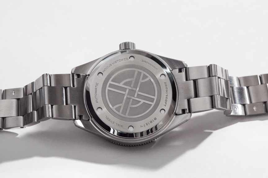 The Trieste caseback is lightly etched to keep the overall height as thin as possible