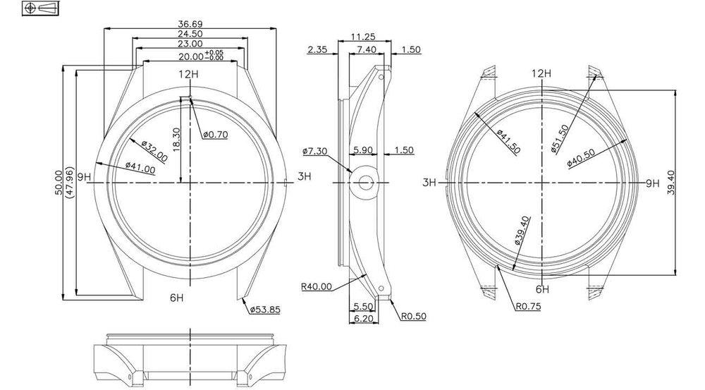 Nodus Trieste case technical drawings