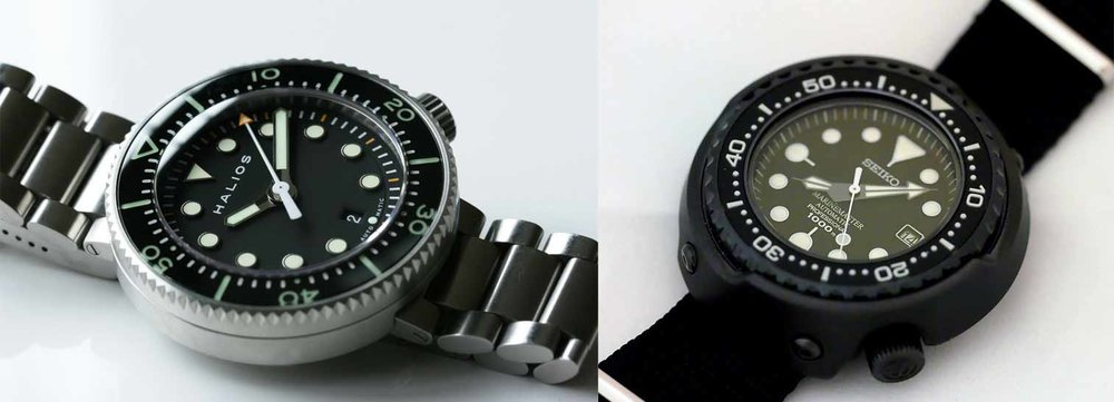 The Halios Puck II shares a few characteristics with the Seiko Tuna but is very much its own watch. Photo credit: halioswatches.com / fratellowatches.com