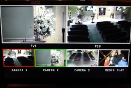 This monitor screen allows the operator to see at all times the view from each of the 3 cameras as well as the output of the media player and what is being Recorded.