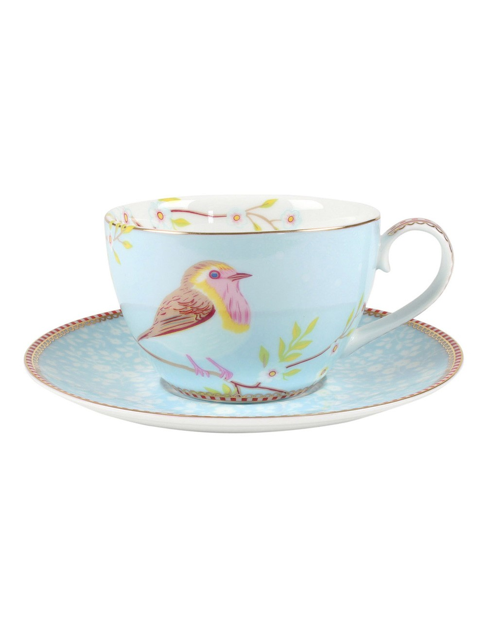 "Tasse mit Untertasse ""Floral Early Bird"" blau, PIP STUDIO"