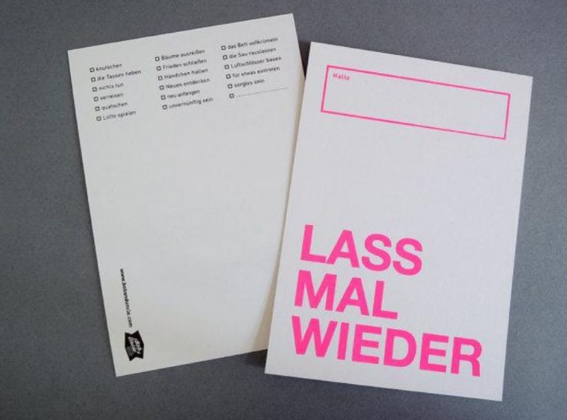"""Postkarte """"Lass mal wieder ..."""" von BOB & UNCLE DESIGN"""