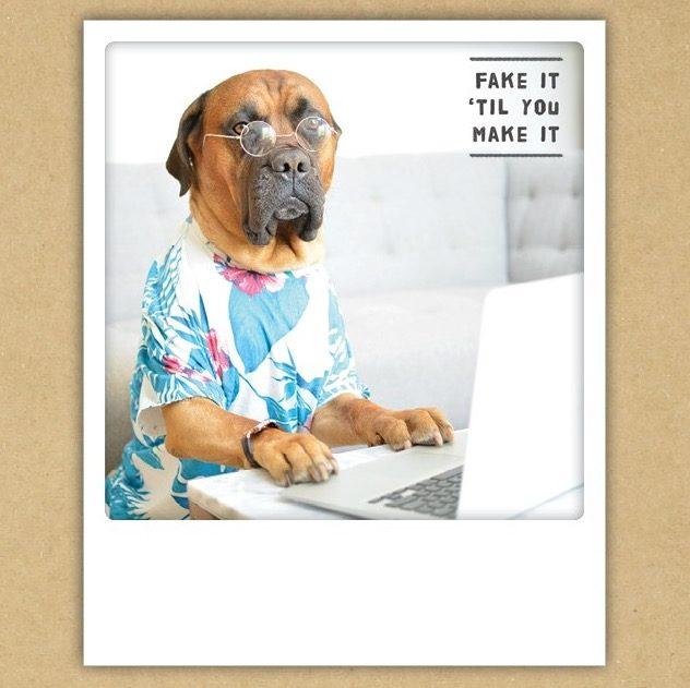 "Postkarte ""Fake it ´til you make it"" von PICKMOTION"