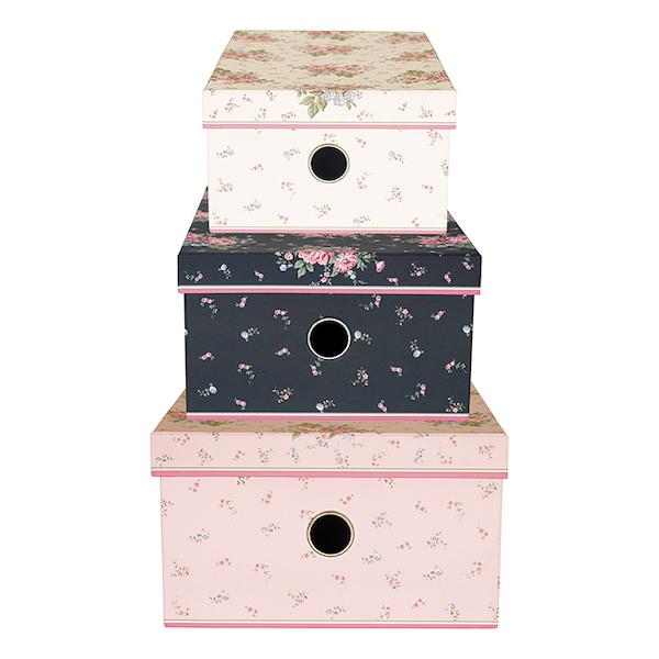 "Aufbewahrungs-Boxen ""Marley Pale Pink"", 3er-Set"
