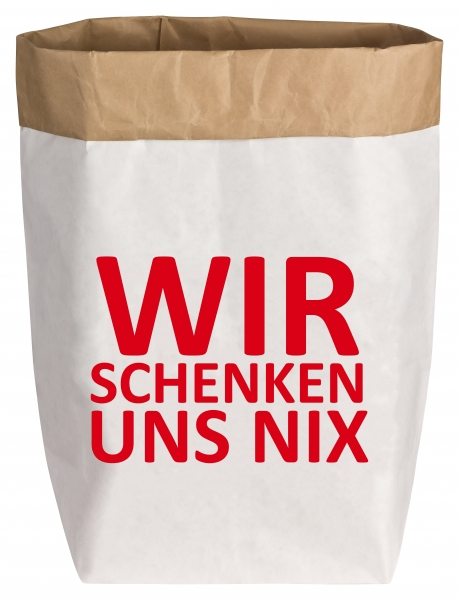 """PaperBag medium """"Wir schenken uns nix"""", Gr. M"""