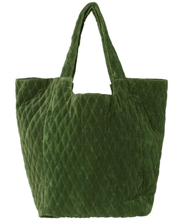 """Tasche aus Baumwollsamt """"Capucine"""" in grün"""