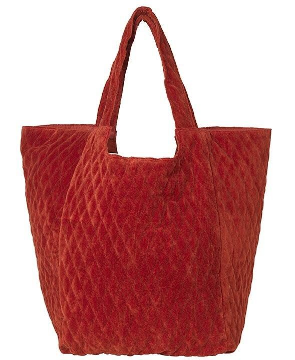 """Tasche aus Baumwollsamt """"Capucine"""" in rot"""