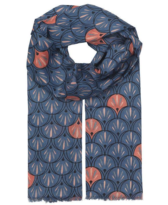 """Schal aus Baumwolle """"Doriane"""" in blau"""