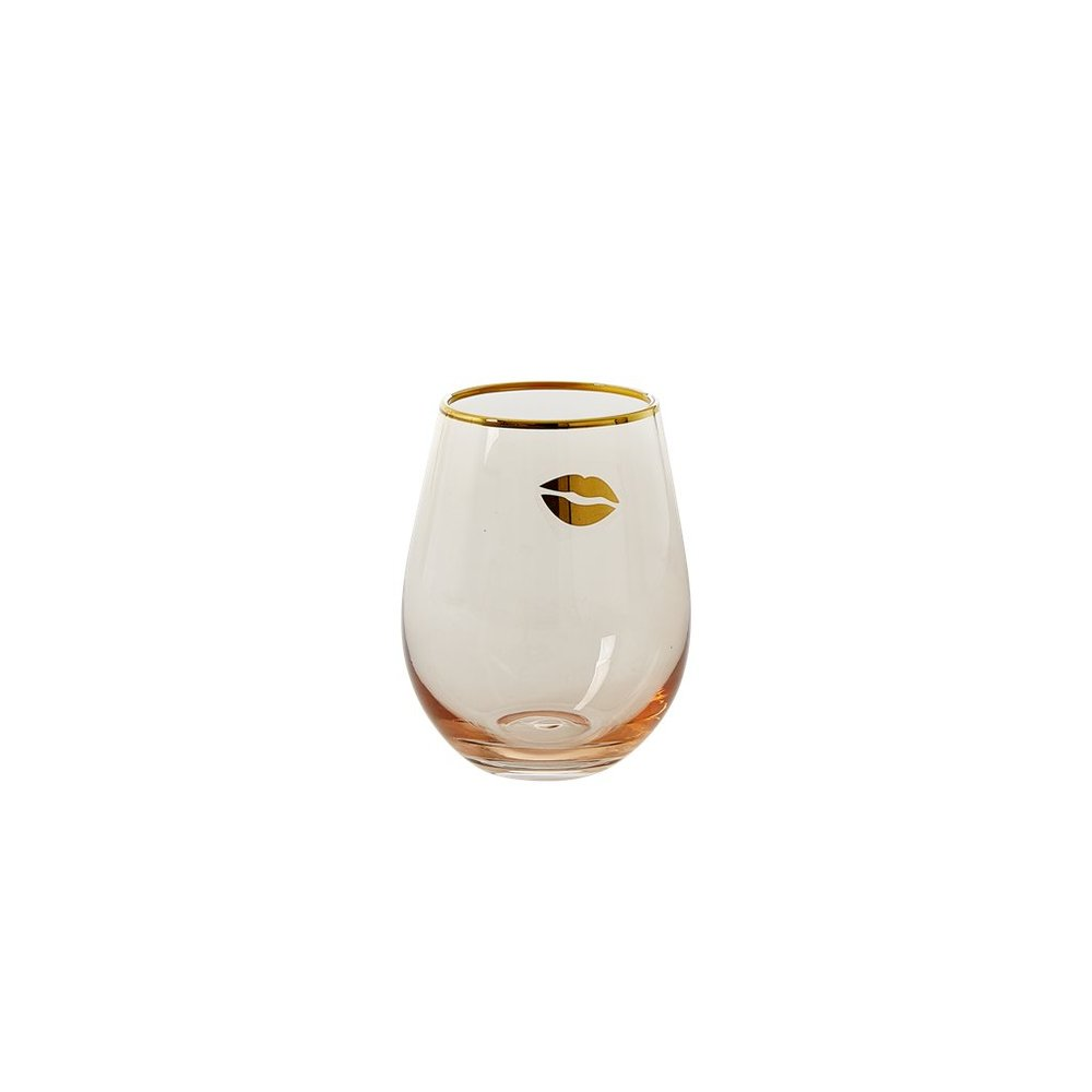 """Wasserglas """"Tumbler"""" in Soft Pink mit Golddetails"""