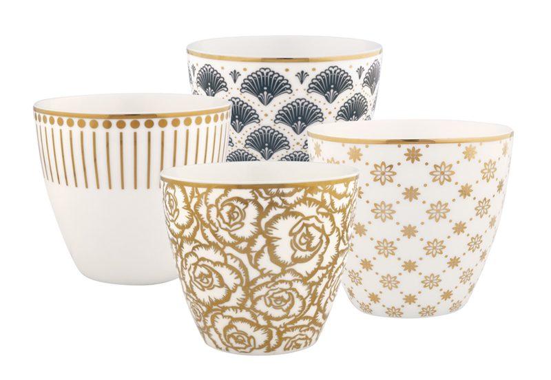 Glamour Set: 4x Latte Cup Becher Gold GATE NOIR / GREENGATE