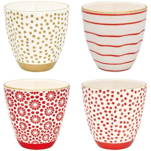 Red Dreams in Gold: 4er Set Latte Cup Becher von GREENGATE