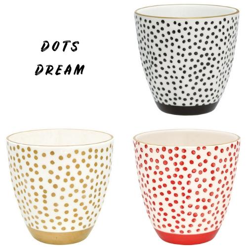 Dots Dream: 3er Set Latte Cup Becher von GREENGATE