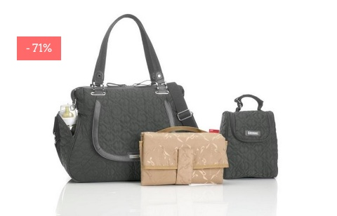 "SALE: Gesteppte Wickeltasche ""Anna"" in grey"