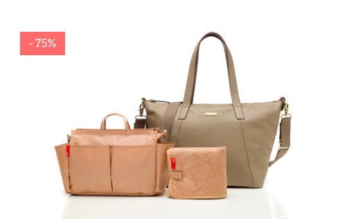 "SALE: Leder-Wickeltasche & Mini Bag ""Noa"" in clay"