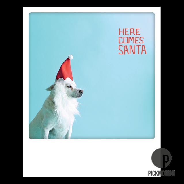 "Postkarte ""Here comes Santa"" von PICKMOTION"