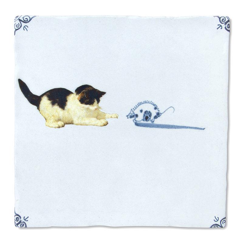 "Kachelbild der Old Dutch Kollektion ""Cat and Mouse"""